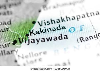 Kakinada, India on a map.