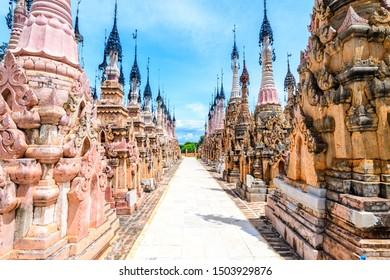 kakku, myanmar. 22th august, 2019: amazing kakku pagoda complex in myanmar