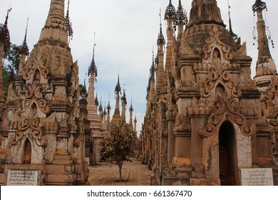 KAKKU, MYANMAR . MARCH 5 2014: The pagoda area of Kakku also known as Kekku lies just 40 kilometers south of Taunggyi, in the region of Shan Myanmar
