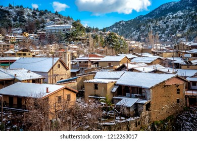 Kakopetria village during winter, covered with snow. Nicosia District, Cyprus.
