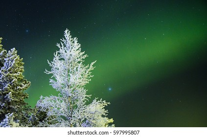 KAKSLAUTTANEN, LAPLAND - January 9th 2016: The Northern Lights in Lapland, Finland