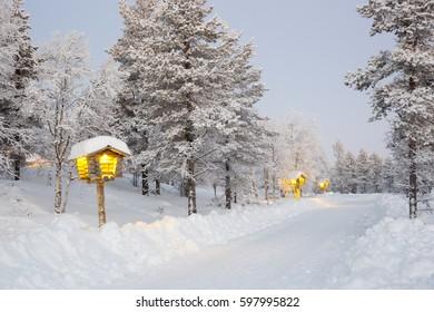 KAKSLAUTTANEN, LAPLAND - January 9th 2016: Snowy paths in Kakslauttanen Arctic Resort, Finnish Lapland