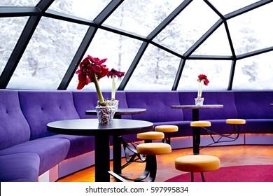 KAKSLAUTTANEN, LAPLAND - January 9th 2016: The glass igloo bar in the Kakslauttanen Arctic Resort in Finnish Lapland