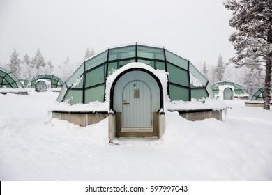 KAKSLAUTTANEN, LAPLAND - January 9th 2016: Glass igloos at the Kakslauttanen Arctic Resort