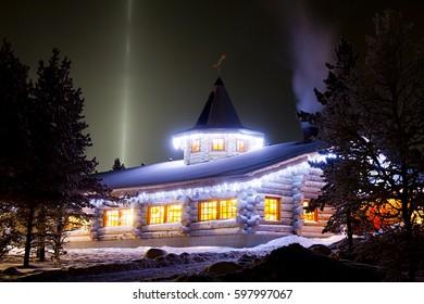 KAKSLAUTTANEN, LAPLAND - January 9th 2016: The reception at night at Kakslauttanen Arctic Resort, Finland