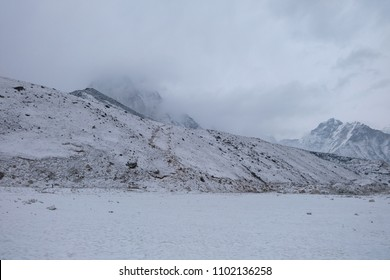 Kala Patthar in Gorak shep village is covered by snow