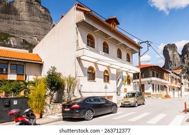 KALABAKA, GREECE - MAR 20, 2015: Architecture of Kalambaka, Greece. Kalambaka is s a municipality in the Trikala, part of Thessaly in Greece with population of 11,841