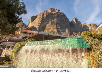 Kalabaka town Greece - view of the Meteora mountain