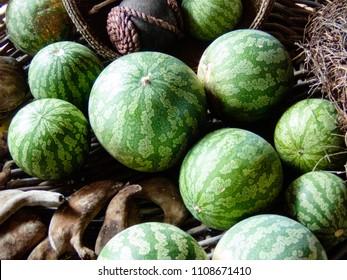 Kalahari melons, fruit in a basket.