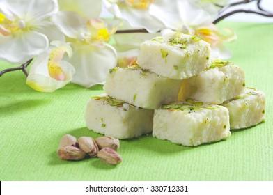 Kalakand and pistachio