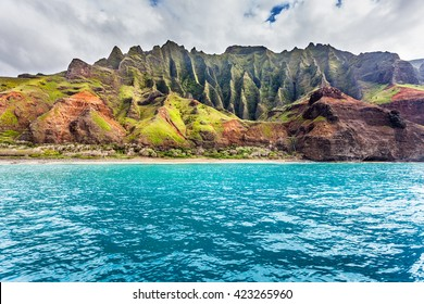 Kalalau Beach, accessible only via boat or an 11 mile hike, Na Pali coast, Kauai
