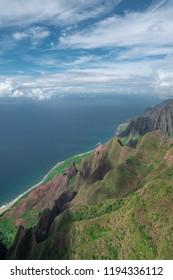 Kalalau Lookout, Napali Coast, Hawaii.  Kauai Amazing green Mountain.