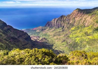 Kalalau Valley lookout on Kauai, Hawaii