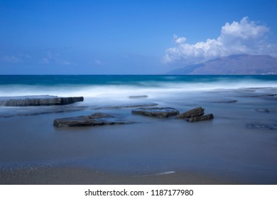 Kalamaki beach on the island of Crete, Greece (longtime exposure)