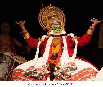 Kalamandalam gopi as a powerful king in a kathakali dance performance on May 3,2018 in Bengaluru,India