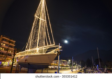 Kalamata - Greece 12 25 2015: A beautiful Ship at the port of Kalamata city decorated for Christmas. Kalamata is a wonderful seaside lively city and it is one of the most beautiful cities in Greece.