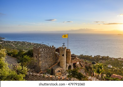 KALAMATA - GREECE, APRIL 2015: The Beutiful old castle of Kastraki is a famous cafeteria - restaurant with a wonderful view of the Messenian gulf in Verga village near Kalamata City.