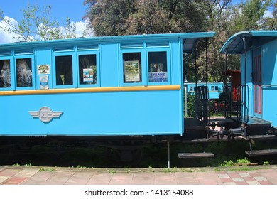 Kalamata, Greece - April 9, 2019: Historic railway cars in the Kalamata Municipal Railway Park. Objects dating from 1885 till 1947. Open-air museum, completed in 1990.  South-east Europe.