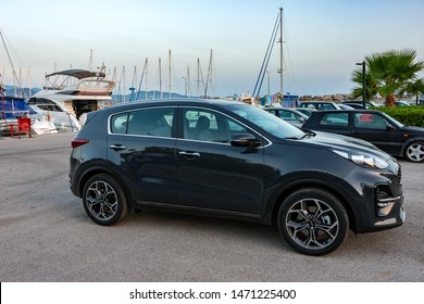 KALAMATA, GREECE - AUGUST 2 2019: Exterior view of the new Kia Sportage Gt line edition. It is a compact crossover SUV built by the South Korean manufacturer Kia Motors.
