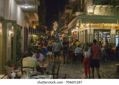 KALAMATA, GREECE AUGUST 2017: Lot of people and tourists visit the old historical center of Kalamata city during the white night festival. Messenia, Peloponnese, Greece.