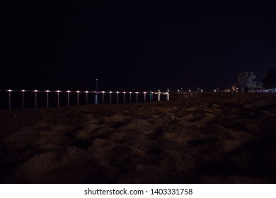 Kalamata, Greece - August 2018: The view of the beach at night.