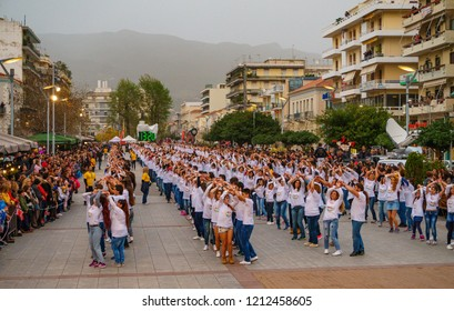 KALAMATA, GREECE, EUROPE - MARCH 12 2016: Scenic view of 450 dancers participating in the Guinness World Record for the Largest Bachata dance in Kalamata City - Greece on March 12 2016.