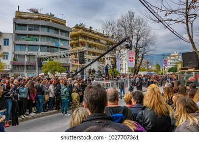 KALAMATA, GREECE - FEBRUARY 18 2018: Tourists and visitors arrive at the central square of Kalamata city to see the 6th Carnival of Kalamata. Its an annual large event in Messenia, Peloponnese, Greece