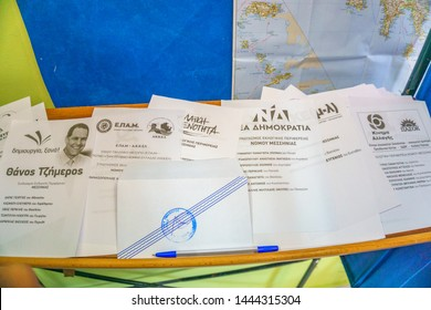 KALAMATA, GREECE, JULY 7 2019:  Inside booth area where Greeks over the age of 17 cast their vote, at school classroom. Greeks vote in snap general election in Kalamata city, Greece.