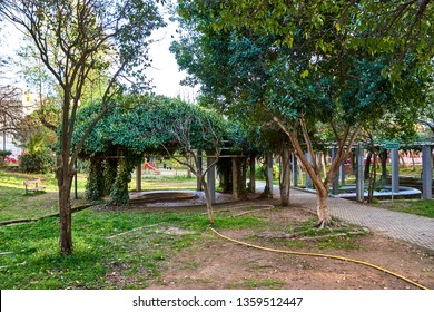 KALAMATA, GREECE - MARCH 2019: Beautiful scenery from Kalamata Municipal Railway Park. It is the only open air museum of its kind in Greece and popular among all railway friends worldwide. Kalamata