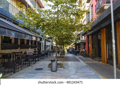 KALAMATA - GREECE OCTOMBER 28 2015: The famous Iatropoulou pedestrian street in Kalamata city with many cafe, bars, shops and restaurants around. Messenia - Greece.