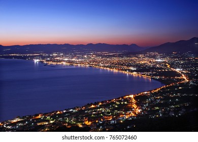 KALAMATA, GREECE. Panoramic night view of the capital of Messinia Prefecture, Peloponnese.