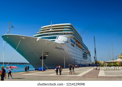 Kalamata Greece September  2014: Costa Neo Romatnica cruise ship anchored in the port of Kalamata city in a beautiful summer day. Messenia, Greece, Europe