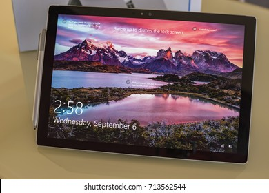 KALAMATA, GREECE SEPTEMBER 2017: The Microsoft Surface pro 4 i7 tablet - computer with the magnetic bluetooth stylus pen.