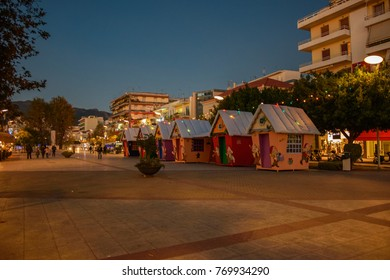 KALAMATA, MESSENIA GREECE - DECEMBER 6 2017: The main square of Kalamata city decorated for Christmas. Kalamata is a wonderful seaside lively city and it is one of the most beautiful cities in Greece.