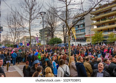 Kalamata Messenia, Greece - February 18 2018: The annual carnival in Kalamata (Kalamatiano Karnavali), folk festivals, people parade in groups in Kalamata city, Peloponnese, Greece