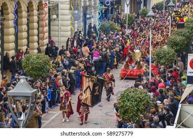Kalamata Messenia, Greece - February 2017: The annual carnival in Kalamata, folk festivals, people parade in groups in Kalamata city, Peloponnese, Greece