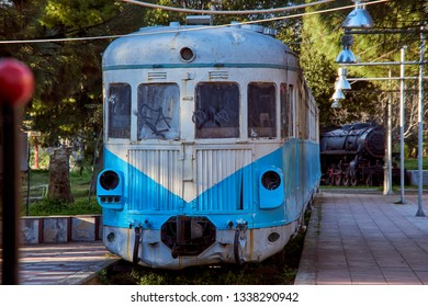 KALAMATA MESSENIA GREECE, MARCH 2019: The Kalamata Municipal Railway Park is the only open air museum of its kind in Greece and popular among all railway friends worldwide. Kalamata Peloponnese Greece
