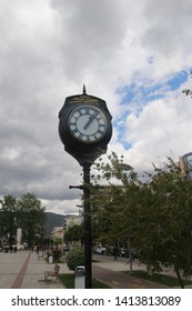 Kalamata, Peloponnese, Greece - April 9, 2019: Historic wrought-iron clock in the pedestrian area of Kalamata, rebuilt after the devastating earthquake in 1986.  South-east Europe.