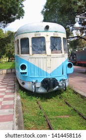 Kalamata, Peloponnese, Greece - April 9, 2019: Historic railway car in the Kalamata Municipal Railway Park. Objects dating from 1885 till 1947. Open-air museum with free entry. South-east Europe.