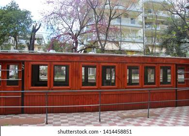 Kalamata, Peloponnese, Greece - April 9, 2019: Historic railway cars in the Kalamata Municipal Railway Park. Objects dating from 1885 till 1947. Open-air museum with free entry. South-east Europe.