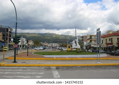 Kalamata, Peloponnese, Greece - April 9, 2019: Square in the center of Kalamata. Cityscape view. South-east Europe.