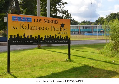 KALAMAZOO, MI / USA - AUGUST 12, 2017: Graduates of Loy Norrix high school, shown here, can get free college tuition through the Kalamazoo Promise program.