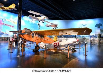 Kalamazoo, MI, USA - June 23, 2016: Aircraft on display at the Air Zoo Museum in Kalamazoo, Michigan