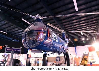 Kalamazoo, MI, USA - June 23, 2016: Helicopter on display at the Air Zoo Museum in Kalamazoo, Michigan