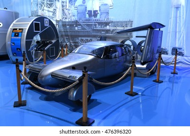 Kalamazoo, MI, USA - June 23, 2016: Milner AirCar on display at the Air Zoo Museum in Kalamazoo, Michigan
