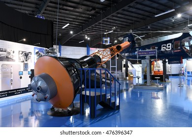 Kalamazoo, MI, USA - June 23, 2016: Space capsule on display at the Air Zoo Museum in Kalamazoo, Michigan
