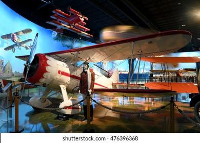 Kalamazoo, MI, USA - June 23, 2016: Waco VPF circa 1937 on display at the Air Zoo Museum in Kalamazoo, Michigan