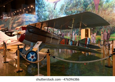 Kalamazoo, MI, USA - June 23, 2016: S.P.A.D. WWI Fighter on display at the Air Zoo Museum in Kalamazoo, Michigan