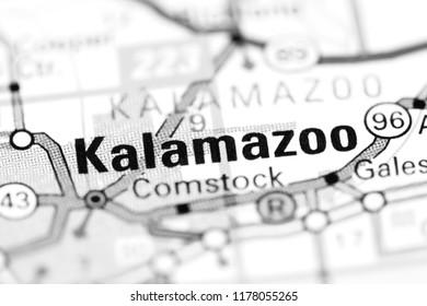 Kalamazoo. Michigan. USA on a map