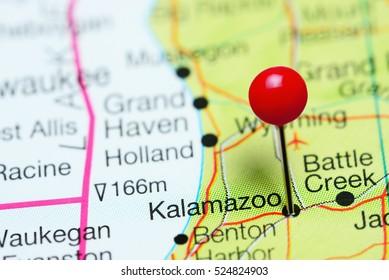 Kalamazoo pinned on a map of Michigan, USA